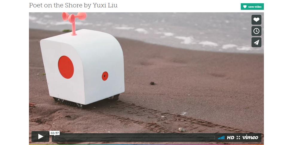 自然を感じるままに...砂浜で詩を書くAIロボット「POET ON THE SHORE」