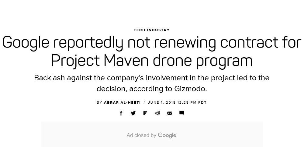 Googleが米国防総省との契約更新を拒否!反対運動を受け決断か