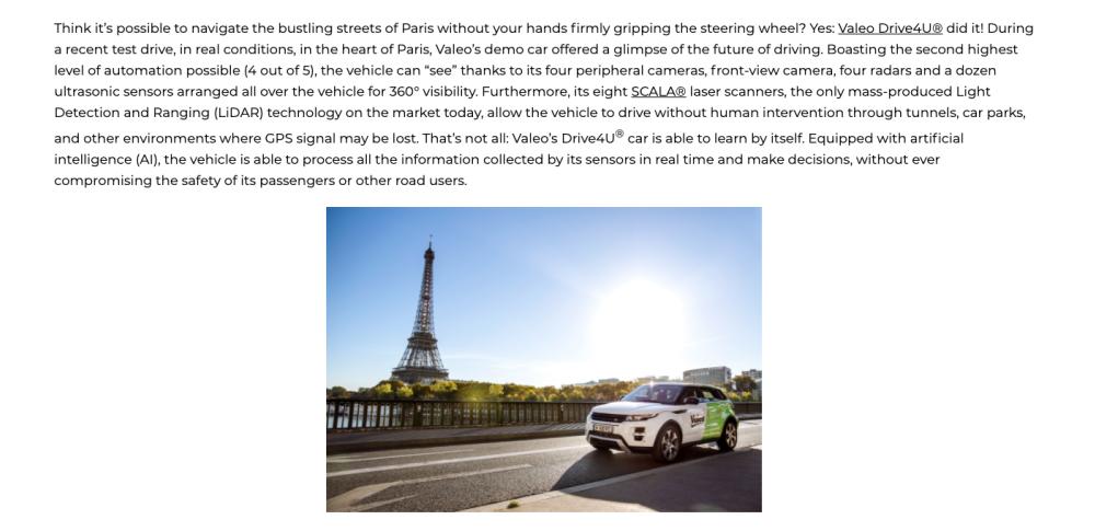 レベル4自動運転車Drive4Uの実装走行を公開|ヴァレオジャパン